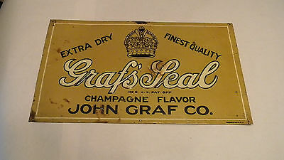 Vintage Graf's Soda Pop Embossed Milwaukee Advertising Tin Sign EARLY SUPER RARE