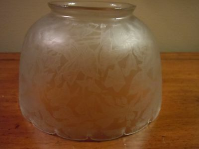 Antique Glass Oil/ Gas Lamp Shade/ Acid Etching/ Birds, Leaves , Vines