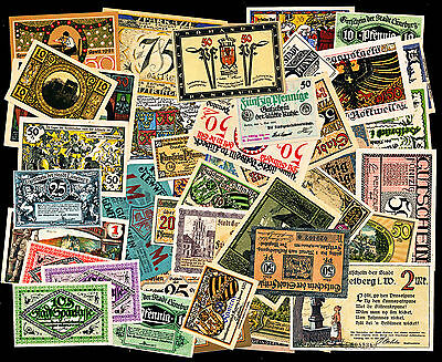 Great Lot of 50 German Notgeld Notes - Assorted Notes - All aUNC or Better!