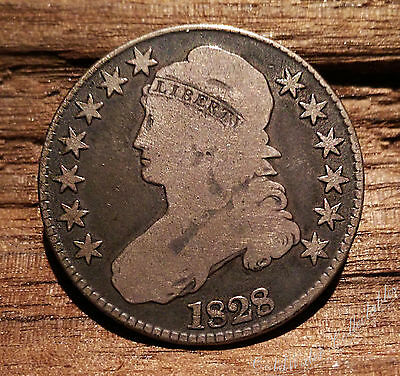 US 1828 Capped Bust Half Dollar Large Square Base 2 VG-F