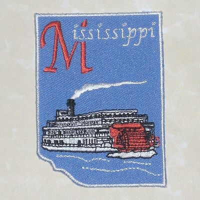 """Mississippi Patch - Steamboat - Travel Souvenir - 2 1/8"""" x 3"""""""