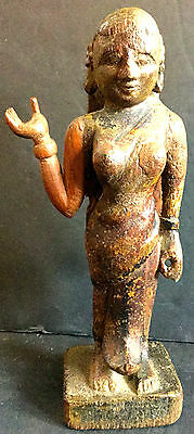 Ancient Wood Polychrome Statue of Woman - India Estate Authentic