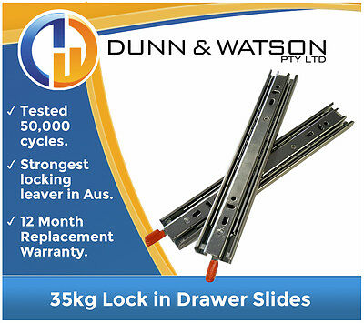 600mm 35kg Lock in Drawer Slides / Fridge Runners - Draw, Hardware, Trailer