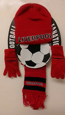 Red Hat Gloves Scarf set Children Liverpool Football team lover Winter warmer
