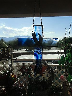 Stained Glass Swril Cobalt Blue Dove Cross