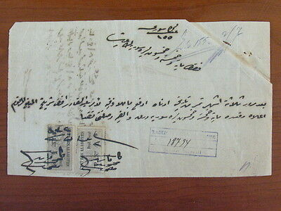 Syria Alaouites Old Document With Revenue Stamps 4 Ps