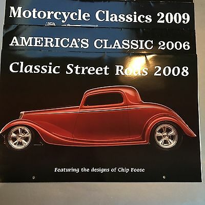 Collection Of 8 Classic Automobile & Motorcycle Wall Calendars, New Collectors