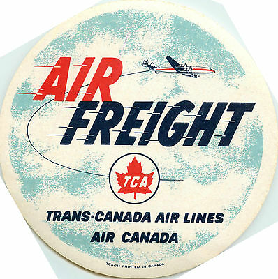 TRANS CANADA AIRLINE / TCA - Great Old AIR FREIGHT Luggage Label, c. 1955