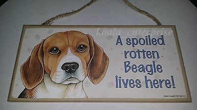 Beagle Spoiled Rotten Dog 5 x 10 Wood SIGN Plaque USA Made