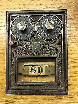 Antique Corbin Brass Double Lock Post Office Box Door With Combination #1