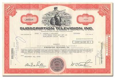 Subscription Television Inc. Stock Certificate (Dodgers and Giants Baseball)