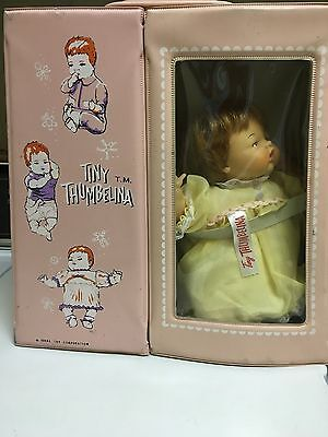 """IDEAL DOLL TINY THUMBELINA IN WORKING CONDITION Vintage 14"""" Pink CARRY CASE"""