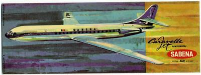 Caravelle Jet ~SABENA AIRLINE~ Unusual and Scarce Luggage Label, c. 1962
