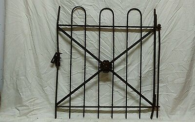 Antique wrought iron hairpin gate architectural salvage fence garden trellis