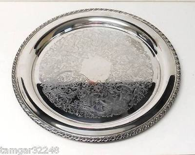 """Vtg ONEIDA  12 1/2 """" Round Silver Plate SERVING TRAY Platter Charger"""
