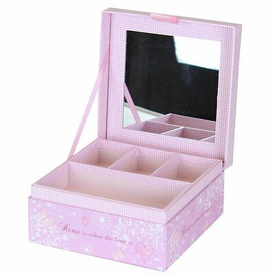 """Pretty Pink Decorative """" Home Is Where The Heart Is """" Jewellery Box"""