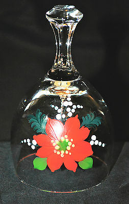 Hand Painted Clear Glass Poinsettia Christmas Bell