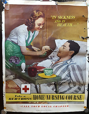 Original Vintage Poster WWII World War II USA Home Nursing Course Red Cross 40s