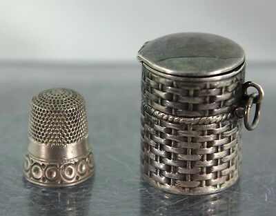 Antique Sterling Silver Hinged Basket Weave Thimble Holder  #8 Sterling Thimble