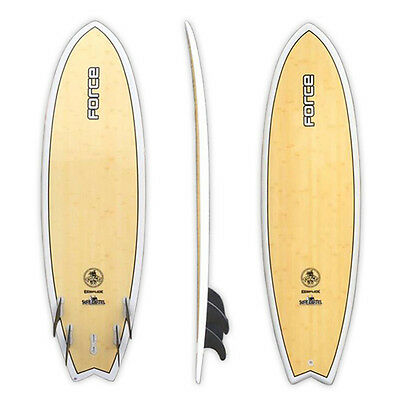 "Force 6'0"" Ecoflex Epoxy Bamboo Quad Fun Fish Surfboard"