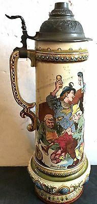 """Huge Antique Mettlach Stein 16"""" Colorful Amazing"""
