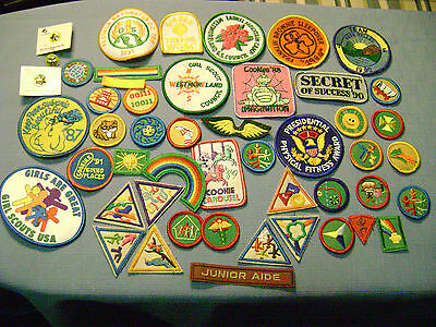 Collection Lot of 46 Vintage Girl Scout Patches & 3 Pins - ALL UNUSED - 80s-90s
