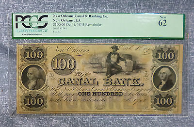 $100 Canal & Banking Co. New Orleans 1845 Remainder PCGS New 62