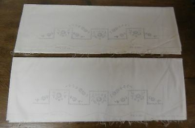 Stamped Embroidery Pair Pillowcases with Flowers Design
