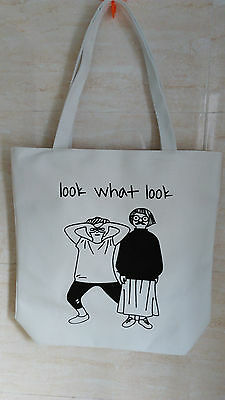 White Black Polyster Tote bag Shopping Bag Zipper with pocket and lined inside