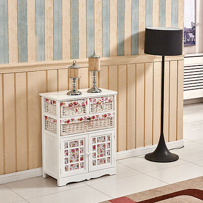 White Wooden Cabinet Shabby Chic Bedside Wicker Storage Chest of Drawer 2 Basket