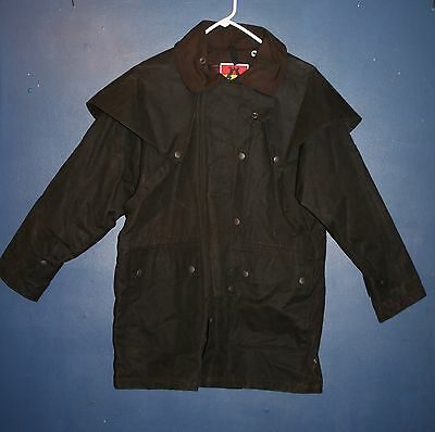 Kakadu Traders Australia Oilskin Drover Waxed Cotton Riding Trench Coat Size Xs