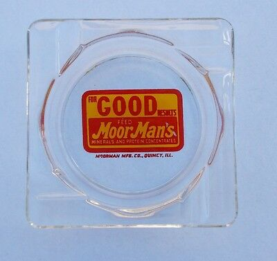 Vintage MoorMan's Feed Glass Advertising Ashtray Quincy Illinois