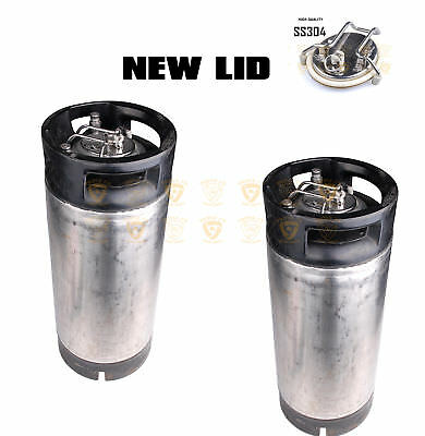 2 x 19 liter L Pin Lock Post Used Keg Kegs with new lid Home Brew Beer