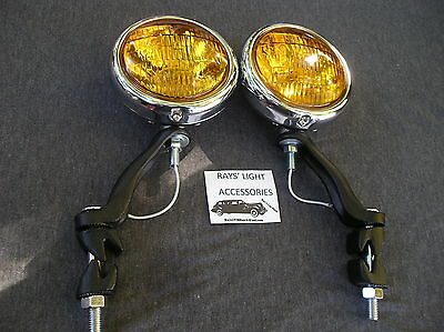 New Pair Of 30's `~ 40's ~ 50's Small Amber Vintage Style Fog Lights / 12-Volts