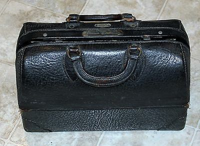 Antique Doctor Bag Emdee by Schell Black Leather