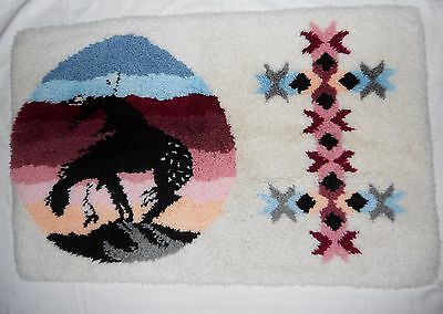 """Vtg Southwestern End of The Trail Indian Latch Hook Rug Kit Completed  EXC! 36"""""""