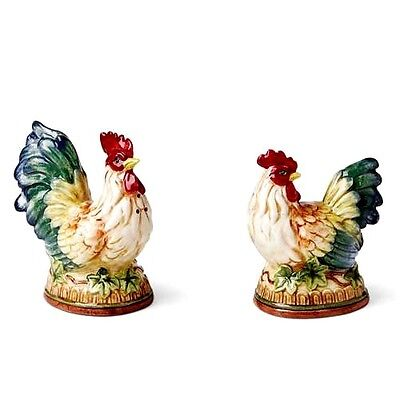 Fitz & Floyd Rooster Hen Mediterraneo French Country Salt & Pepper Figurines Set