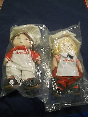 CAMPBELL'S SOUP CLOTH BOY & GIRL BEANBAG TYPE DOLLS Original Package