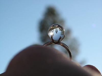 ...Sterling Silver,10.63mm Rock Crystal Quartz Pool Of Light Ball Ring...Size 8