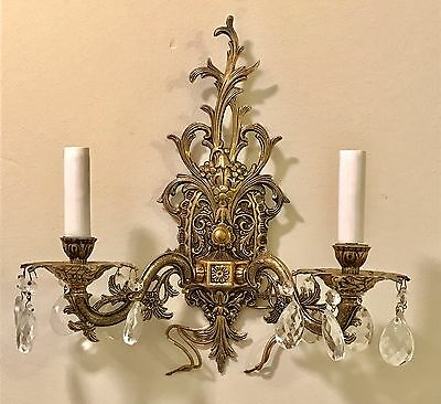 Halcolite Co. Antique Brass Crystal Wall Sconces Underwriters Laboratories