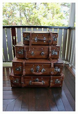 Original vintage leather suitcase set