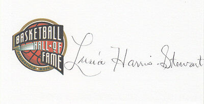 Lusia Harris Stewart HOF 1983 SIGNED 3x5 CARD Hall of Fame autographed