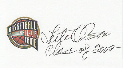 Coach Lute Olson University of Arizona, HOF 2002 SIGNED 3x5 CARD Hall of Fame