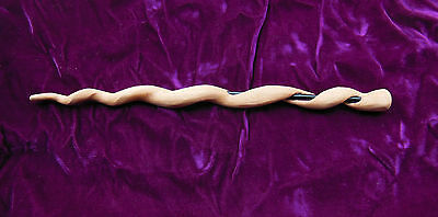 Handcrafted Magic Wand with Dark Purple Glass Rod Insert - Natural Alder Wood