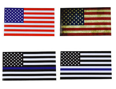 """AMERICAN FLAG 4-1/2"""" x 2-1/2"""" Sticker Choice of Color/Style Blue Line"""