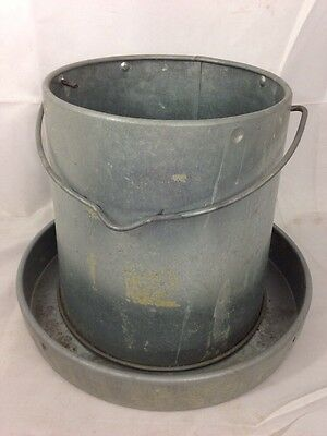 "9"" Tall Galvanized Metal Two Piece Chicken Feeder Waterer Rustic Farm Tool"