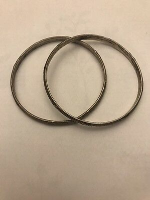 Pair Of Two Ornate Vintage Heavy Sterling Silver Bangle Bracelets Free Shipping