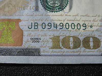 2009  $100 * Federal Reserve star note New York JB 09490009*