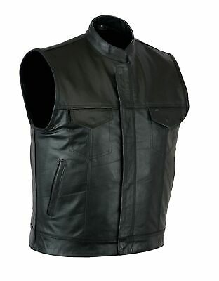 Men's SOA Leather Vest Motorcycle Club concealed carry Pocket –Same Day Shipping