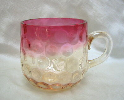 "New England Glass Company ""Amberina"" inverted thumbprint mug or punch cup"